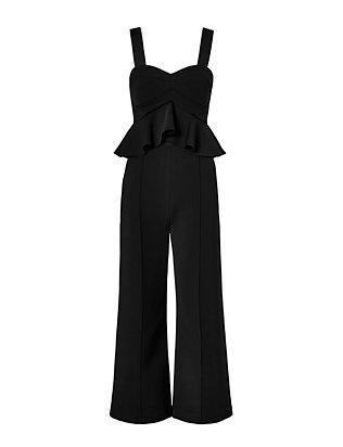 Cropped Peplum Jumpsuit: Black
