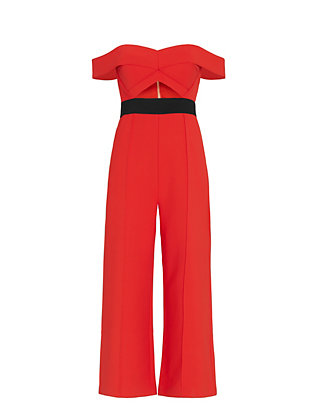 Self-Portrait Off The Shoulder Crop Jumpsuit