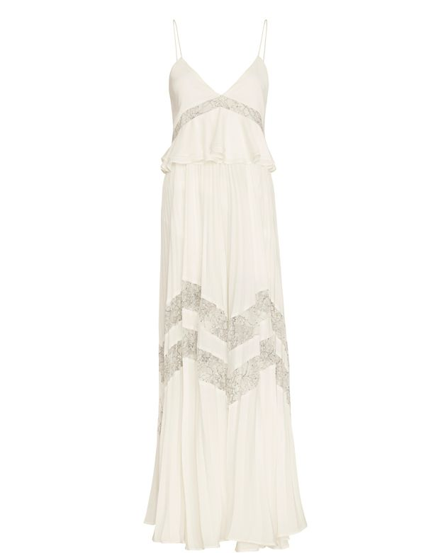 Self-Portrait Amelia Pleated Lace Gown