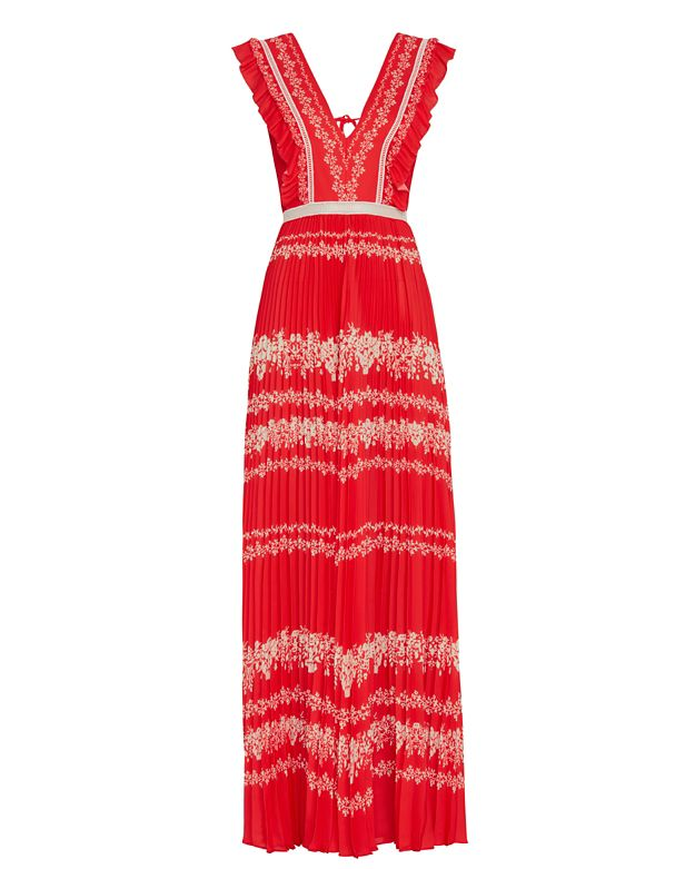 Self-Portrait Printed Maxi Dress: Red