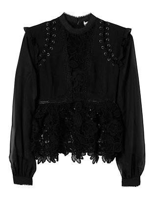 Lace Detail Blouse: Black