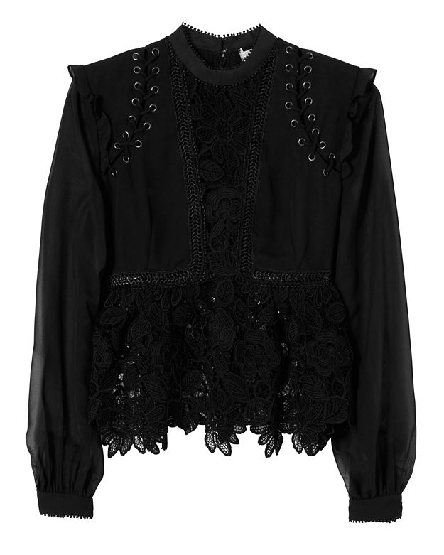 Self-Portrait Lace Detail Blouse: Black