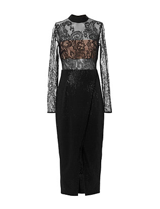 Self-Portrait Sequin Lace Midi Dress