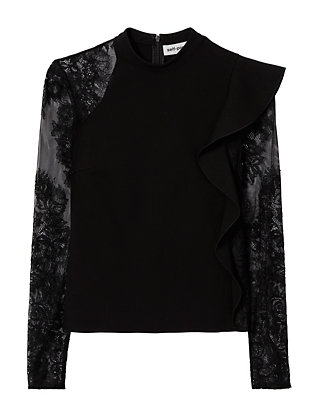 Self-Portrait Lace Sleeve Ruffle Top