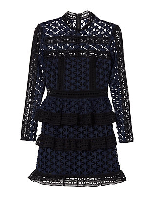 Self-Portrait Star Lace Ruffled Dress