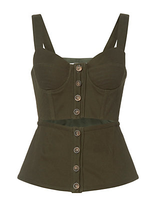 Self-Portrait Olive Corset Top