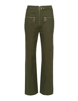 Self-Portrait Zip Front Straight Leg Trousers