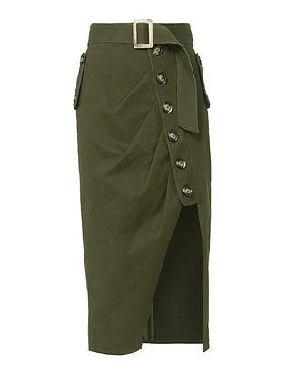 Self-Portrait Military Button-Down Skirt
