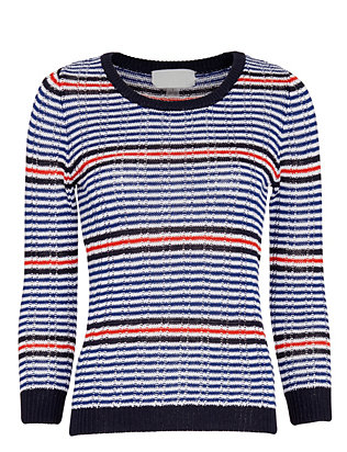 Cardigan Striped Combo Rib Knit
