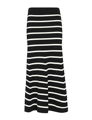 Cardigan EXCLUSIVE Striped Knit Flare Maxi Skirt