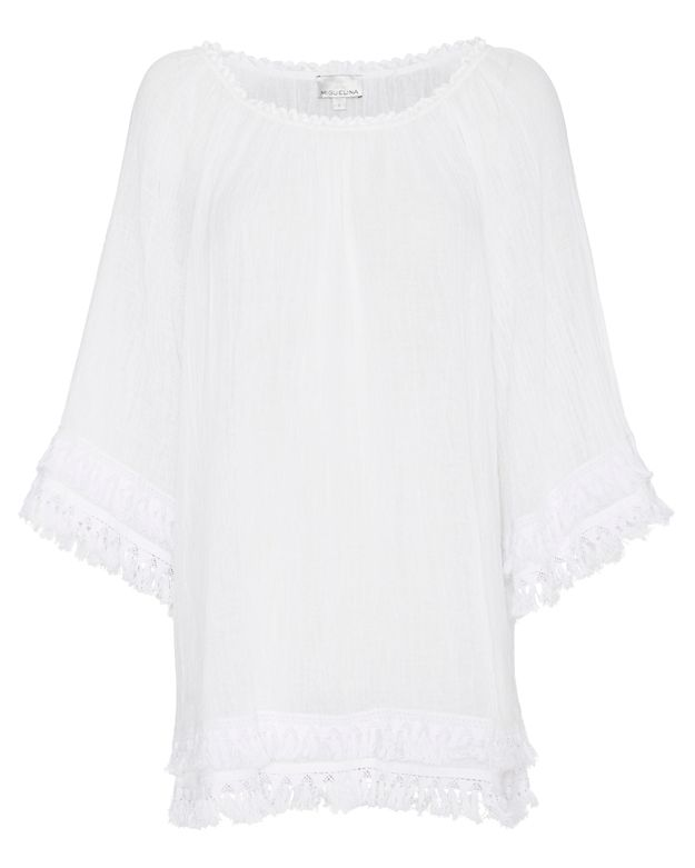 Miguelina Tammy Gauzy Off-The-Shoulder Dress: White