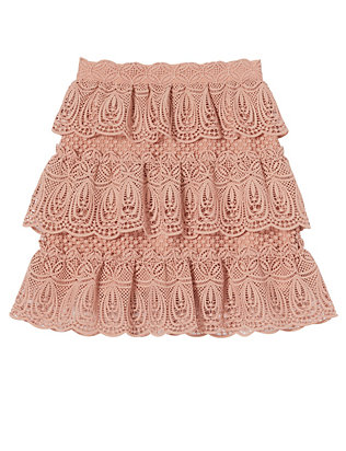 Self-Portrait Tiered Lace Skirt: Blush