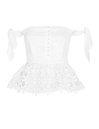 Self-Portrait Peplum Lace Corset: White