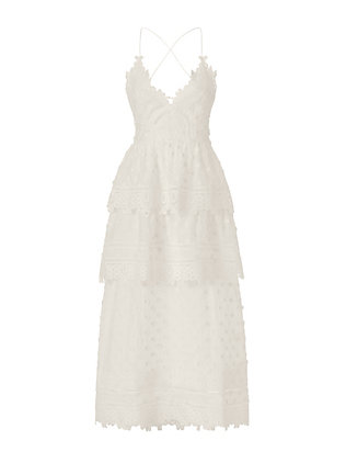 Self-Portrait Ivy Lace Trim Midi Dress: White