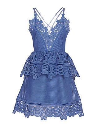 Self-Portrait Lace Peplum Mini Dress