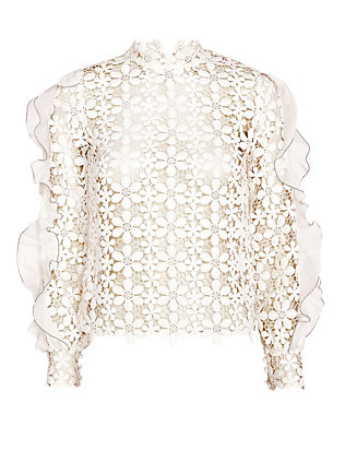 Self-Portrait Floral Lace Flounce Sleeve Top: White