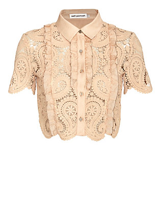 Self-Portrait Paisley Lace Crop Blouse