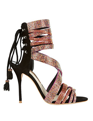 Adeline Crystal Strap Suede Sandals: Black