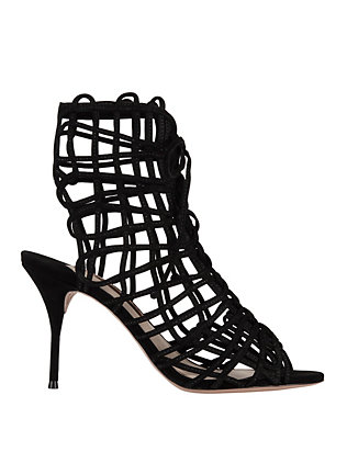 Delphine Suede Cage Sandals: Black