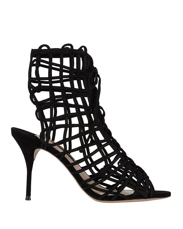 Sophia Webster Delphine Suede Cage Sandals: Black