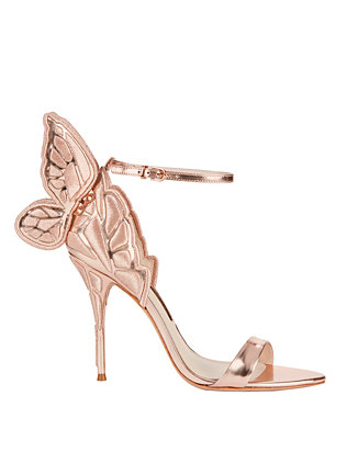 Sophia Webster Chiara Embroidered Rosegold Metallic Leather Sandal