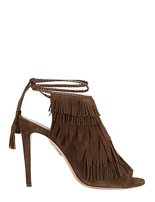 Pocahontas Suede Fringe Sandals: Chocolate