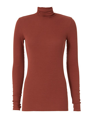 Enza Costa Ribbed Rust Turtleneck