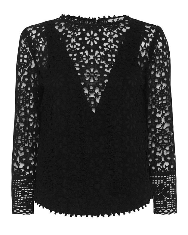 Sea Snowflake Pattern Lace Top: Black