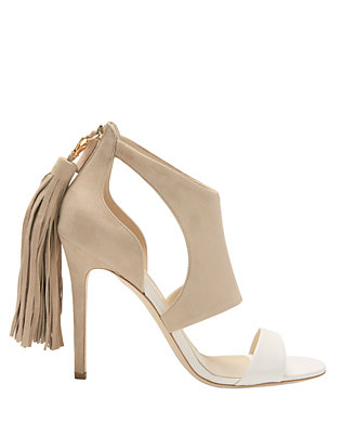 Alexander White Cleo Tassel Zip Colorblock Cut Out Sandal