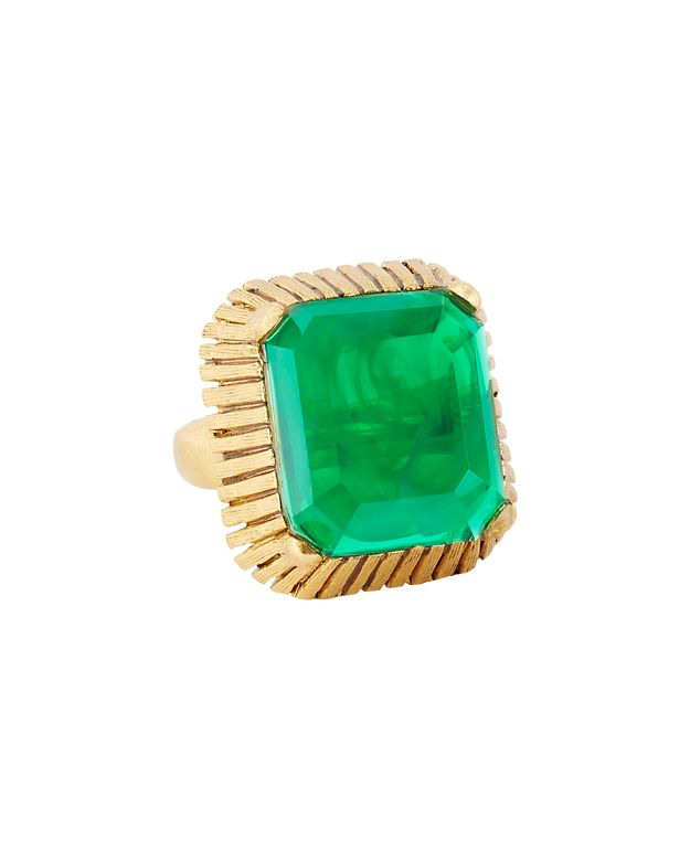 Elizabeth Cole Wren Cocktail Ring: Green