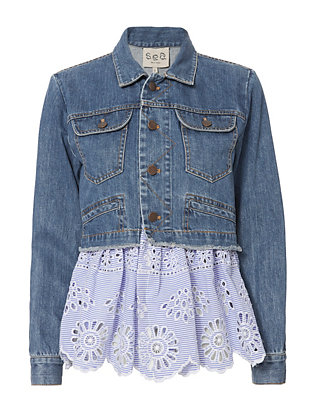 Sea Denim Eyelet Combo Jacket