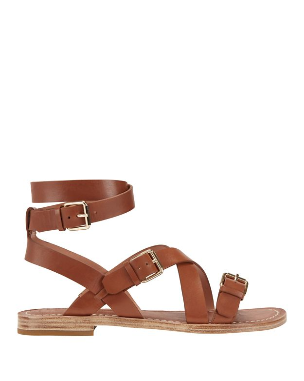 Sigerson Morrison Abigail Buckled Leather Flat Sandal: Brown