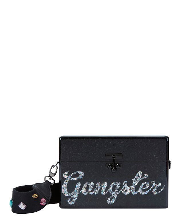 Edie Parker Trunk Gangster Bejeweled Strap Clutch