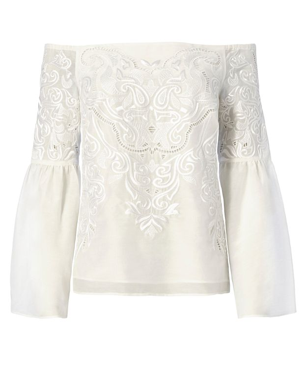 Exclusive for Intermix Aaron Strapless Embroidered Top