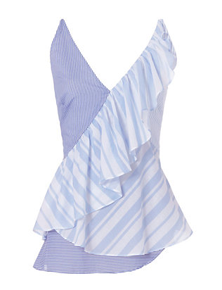Exclusive for Intermix Owen Stripe Ruffle Cami