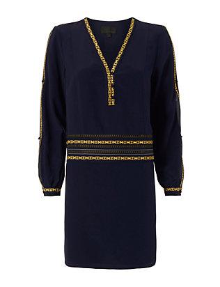 Embroidery Trim Silk Dress