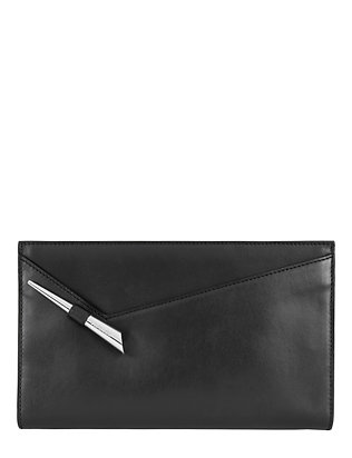 Starla Zip Leather Clutch: Black