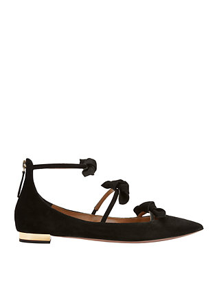 St Tropez Strappy Bow Suede Point Toe Flats
