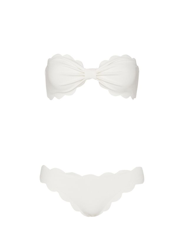 Marysia Antibes Scallop Trim Bandeau Bikini: White