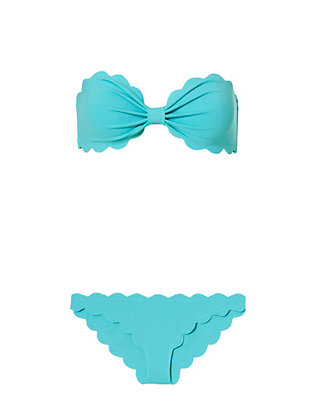 Antibes Scallop Trim Bandeau Bikini: Turquoise- FINAL SALE