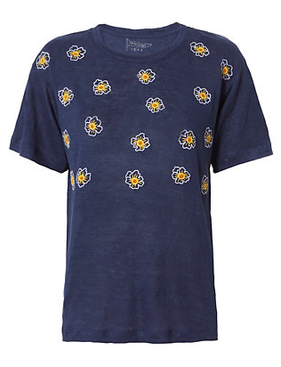 Embroidered Poppy Tee