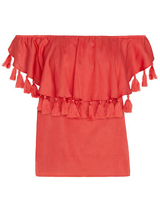 St. Roche EXCLUSIVE Off The Shoulder Tassel Top: Red