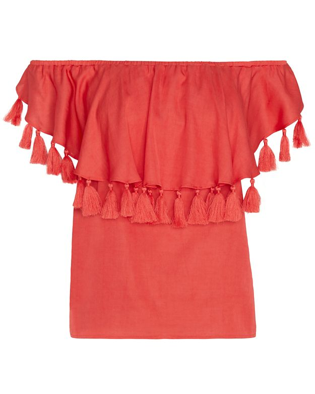 St. Roche Off-The-Shoulder Tassel Top: Red