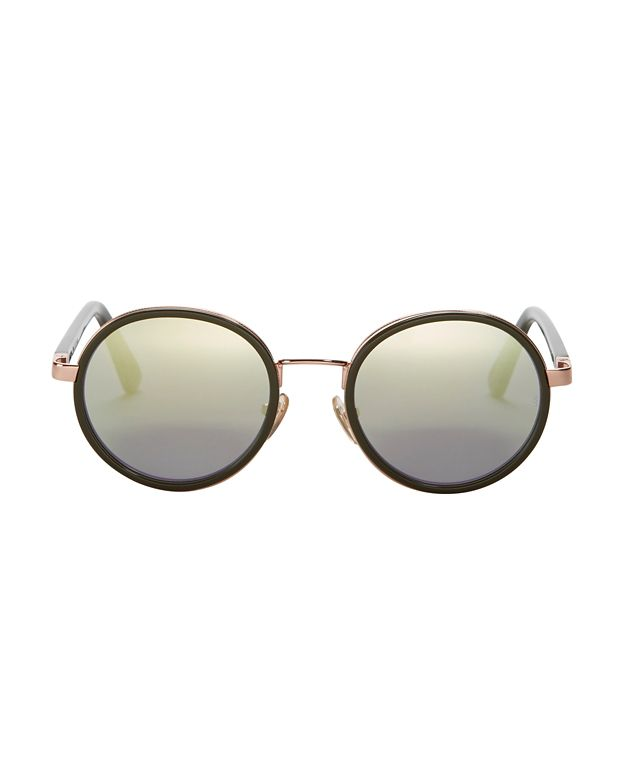 Sunday Somewhere Mirrored Lense Round Sunglasses: Olive