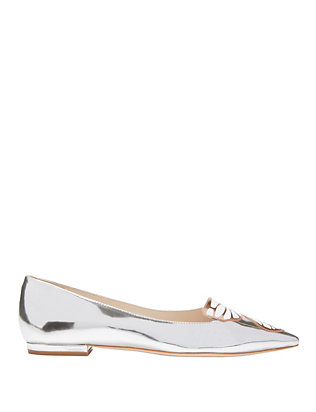 Sophia Webster Bibi Silver Butterfly Pointy Toe Flats