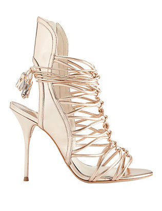 Sophia Webster Lacey Strappy Cage Rose Gold Metallic Sandal