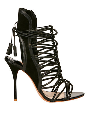 Sophia Webster Lacey Strappy Cage Suede Sandal: Black
