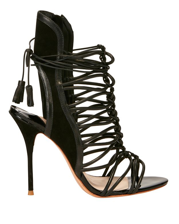 Sophia Webster Lacey Strappy Cage Suede Sandals: Black