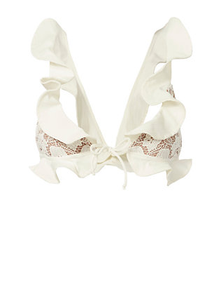 For Love & Lemons Corsica Lacey Ruffle Bikini Top