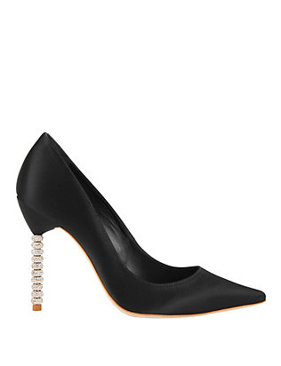 Sophia Webster Coco Crystal Heel Satin Pump: Black